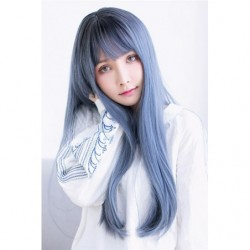 Cosplay Wig TefuRe MODE Long Straight Hair Black Navy Blue japan plush
