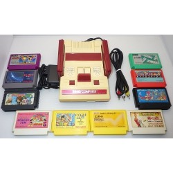 Nintendo Famicom AV Mod C Grade - 5 Items Set + 10 Games Set B