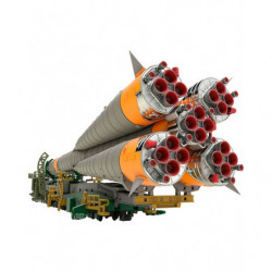Figure Soyuz Rocket and Transport Train Plastic Model