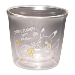 Double walled glasses transparent heat resistant LOVELY FLOWERS WITH PIKACHU