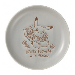 Plate Blue Grey S LOVELY FLOWERS WITH PIKACHU