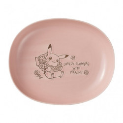 Oval Plate Pink LOVELY FLOWERS WITH PIKACHU
