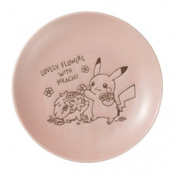 Plate Pink M LOVELY FLOWERS WITH PIKACHU