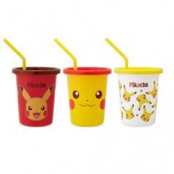 Gobelets avec pailles Set Pikachu Face